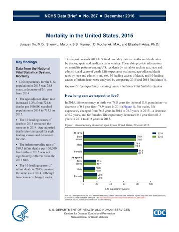 Mortality in the United States 2015