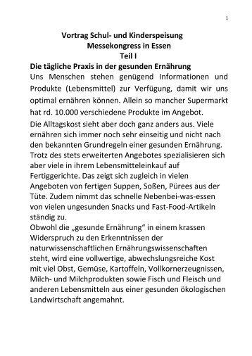 Vortrag Schul- und Kinderspeisung Messekongress in Essen Teil I ...