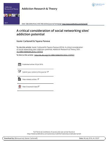 A critical consideration of social networking sites' addiction potential