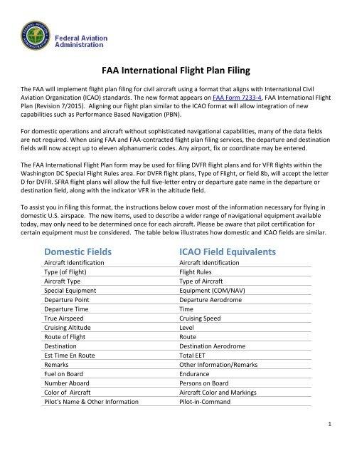 FAA International Flight Plan Filing Domestic Fields ICAO