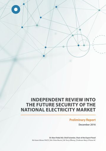 INDEPENDENT REVIEW INTO THE FUTURE SECURITY OF THE NATIONAL ELECTRICITY MARKET