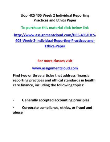 hcs 405 health care financial term paper Week two health care financial terms worksheet homework assignments and papers write each term's definition as used in health care.
