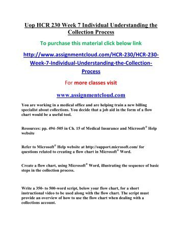 flow chart week 7 hcr 230 View essay - the collection process from hcr230 hcr230 at university of  phoenix  the flow chart explains how the collection process works  week 7  assignment understanding collections university of phoenix hcr.
