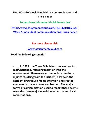 UOP HCS 320 Week 5 Individual Communication and Crisis Paper