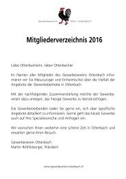 Mitgliederverzeichnis Gewerbeverein Ottenbach 2016