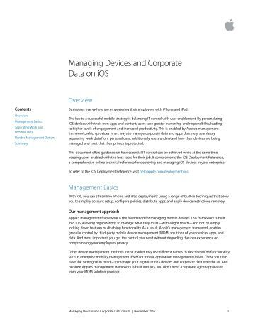 Managing Devices and Corporate Data on iOS