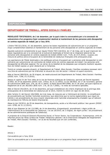 DISPOSICIONS DEPARTAMENT DE TREBALL AFERS SOCIALS I FAMÍLIES