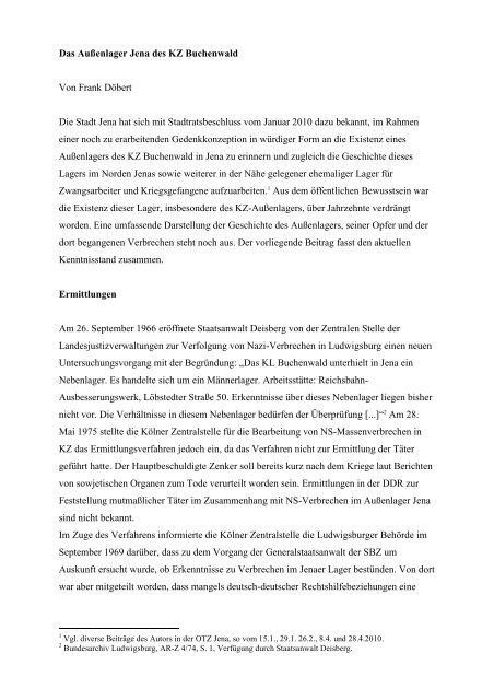 Das Außenlager Jena des KZ Buchenwald - Geschichtswerkstatt ...