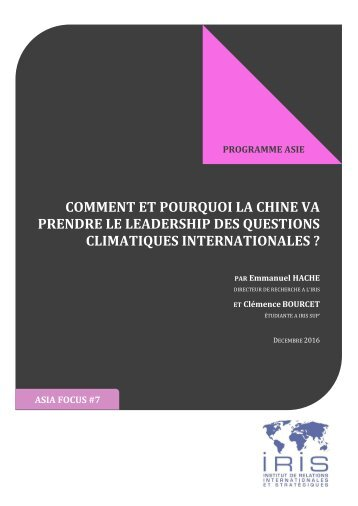 PRENDRE LE LEADERSHIP DES QUESTIONS CLIMATIQUES INTERNATIONALES ?