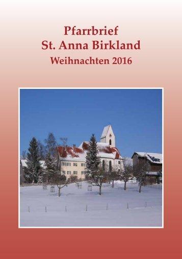 Pfarrbrief Weihnachten 2016 der Gemeinde St. Anna Birkland