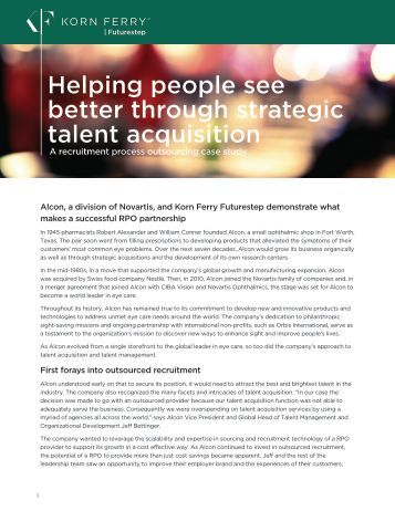 Helping people see better through strategic talent acquisition