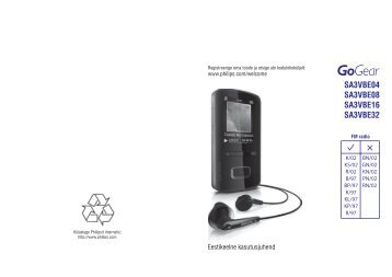 Philips GoGEAR Baladeur MP4 - Mode d'emploi - EST