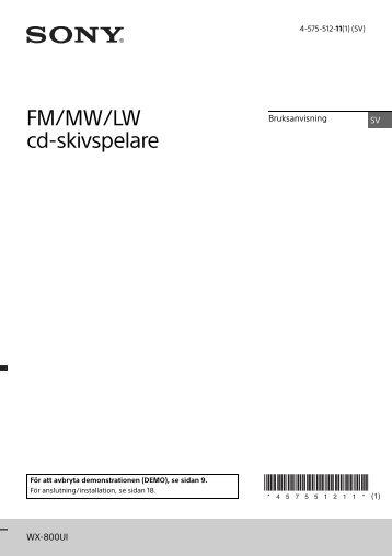 Sony WX-800UI - WX-800UI Istruzioni per l'uso Svedese
