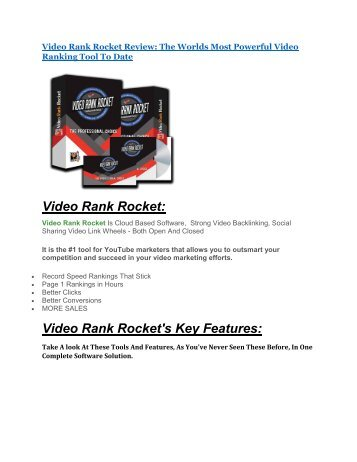 Video Rank Rocket review - Video Rank Rocket (MEGA) $23,800 bonuses