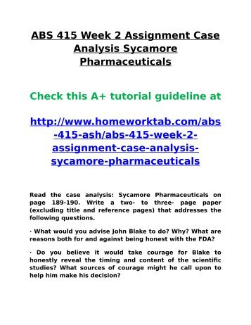 Case Analysis Sycamore Pharmaceuticals - Superb Essay Writers