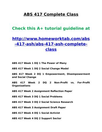 ABS 417 Complete Class