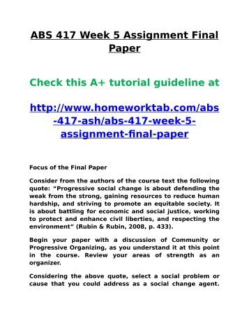 ABS 417 Week 5 Assignment Final Paper