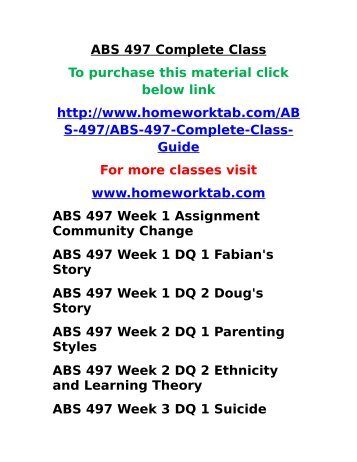 ABS 497 Complete Class