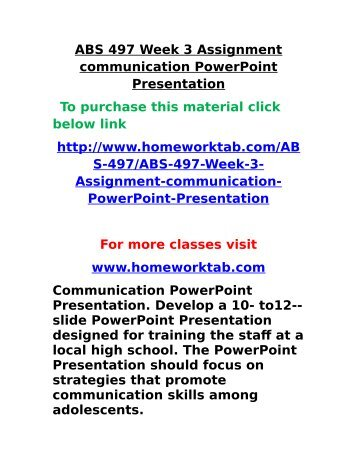 Abs  Week  Assignment Communication Powerpoint Presentation