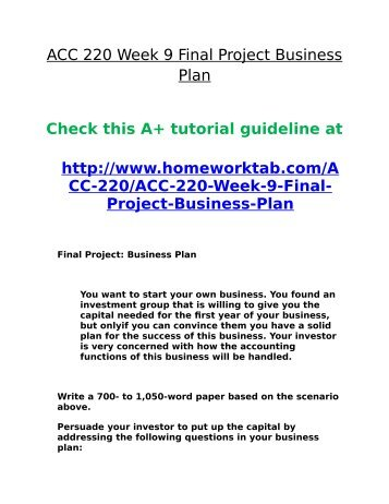 Final project business plan