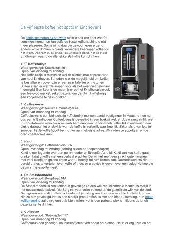 De vijf beste koffie hot spots in Eindhoven!