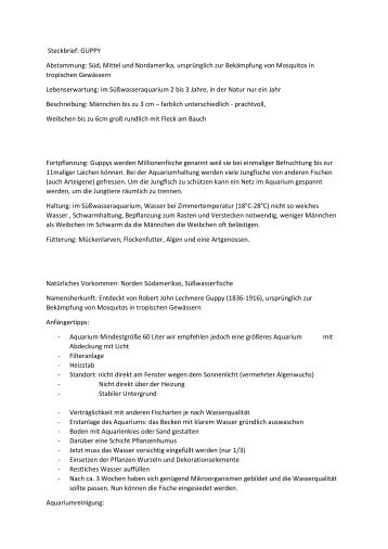Steckbrief Guppy pdf