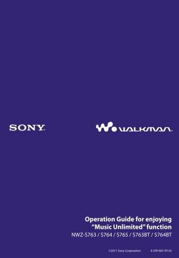 Sony NWZ-S764BT - NWZ-S764BT Istruzioni per l'uso Inglese