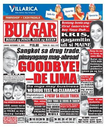 December 11, 2016 BULGAR: BOSES NG PINOY, MATA NG BAYAN