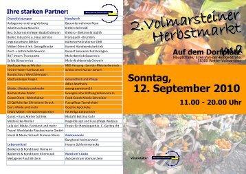 Sonntag, 11.00 - 20.00 Uhr 12. September 2010 Auf dem Dorfplatz