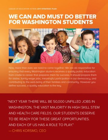 WE CAN AND MUST DO BETTER FOR WASHINGTON STUDENTS
