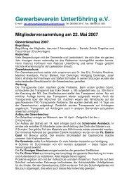 Mitgliederversammlung am 22. Mai 2007 Gewerbeschau 2007