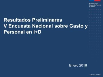 Resultados Preliminares V Encuesta Nacional sobre Gasto y Personal en I+D