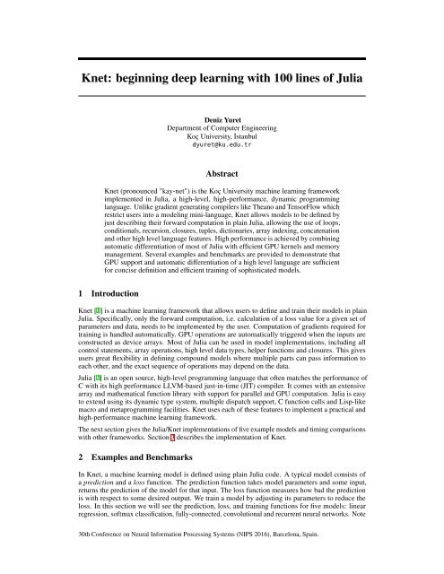 Knet beginning deep learning with 100 lines of Julia
