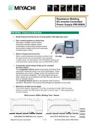 Resistance Welding DC Inverter-Controlled Power ... - Miyachi Europe