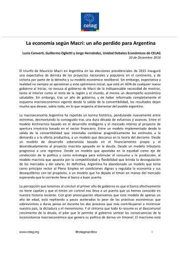 La economía según Macri un año perdido para Argentina