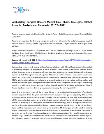 Ambulatory Surgical Centers Market Size, Share, Analysis and Forecasts, 2017 To 2021