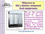 Restaurant food Equipment Vancouver BC|| gioskitchen