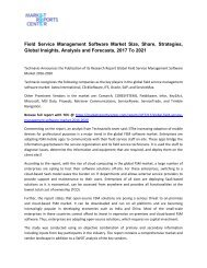 Field Service Management Software Market Size, Share, Analysis and Forecasts, 2017 To 2021