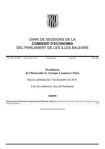 DIARI DE SESSIONS DE LA COMISSIÓ D'ECONOMIA DEL PARLAMENT DE LES ILLES BALEARS