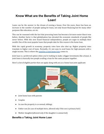 Know What are the Benefits of Taking Joint Home Loan