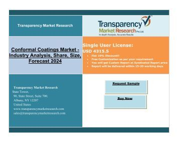 Conformal coating: Type of Coating applied to electronic devices to protect from heat and rain: Market expand at the highest CAGR upto 2024