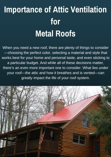 Importance of Attic Ventilation for Metal Roofs