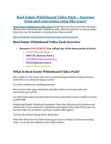 Real Estate Whiteboard Video Pack review-(SHOCKED) $21700 bonuses