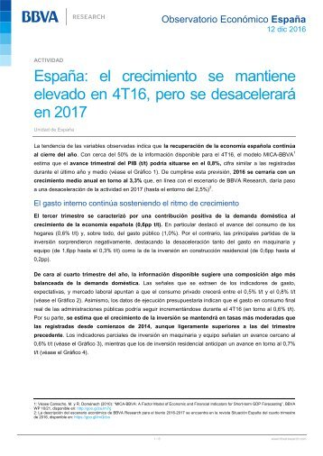 España el crecimiento se mantiene elevado en 4T16 pero se desacelerará en 2017