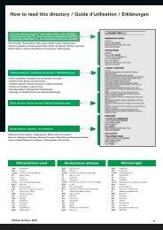 How to read this directory / Guide d'utilisation / Erklärungen