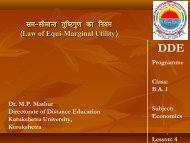 B.A. I - Economics - Lecture 1 - Kurukshetra University