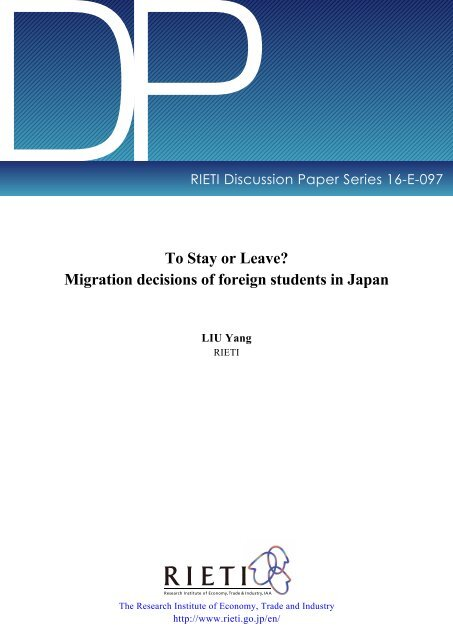 Migration decisions of foreign students in Japan