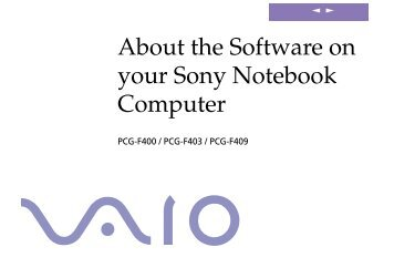 Sony PCG-F403 - PCG-F403 Manuale software Inglese