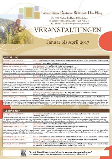 Deutsche Bibliothek Den Haag - Programm Januar bis April 2017