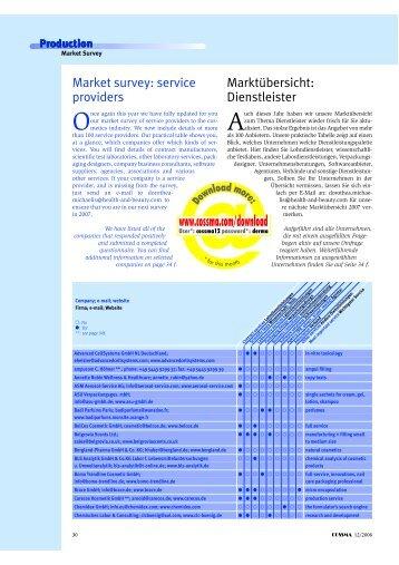 Adressliste Dienstleister International - COSSMA